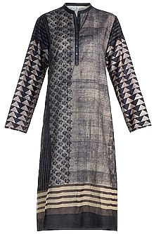 Black Embellished & Printed Tunic by Krishna Mehta