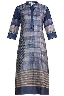 Blue Embellished Printed Silk Tunic by Krishna Mehta