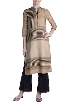 Beige Embellished Printed Silk Tunic by Krishna Mehta