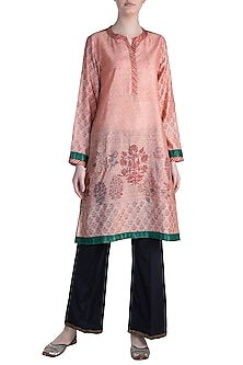 Peach Embellished Printed Tunic by Krishna Mehta