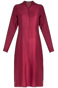 Red Pintuck Tunic by Krishna Mehta