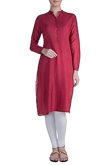 Red Pintuck Tunic by Krishna Mehta
