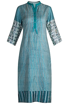 Turquoise Printed Tussar Silk Tunic by Krishna Mehta
