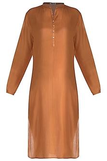Orange Pintuck Tunic by Krishna Mehta