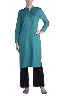 Blue Pintuck Tunic by Krishna Mehta
