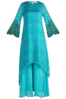 Blue Printed & Embroidered Tunic With Palazzo Pants by Krishna Mehta