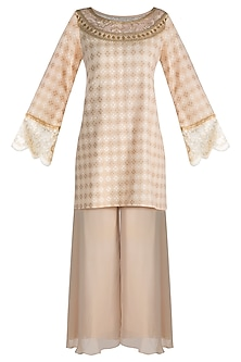 Beige Embroidered Banarasi Kurta Set by Krishna Mehta