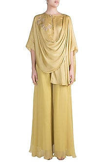 Olive Green Embroidered Top With Palazzo Pants by Krishna Mehta
