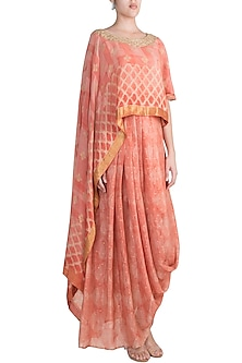 Orange Embroidered Drape Top With Skirt by Krishna Mehta