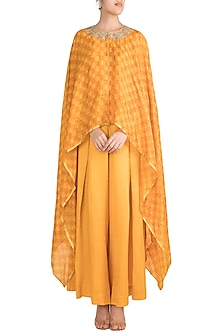 Yellow Embroidered Draped Top With Pants by Krishna Mehta