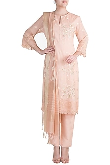 Peach Embroidered Banarasi Tunic Set by Krishna Mehta