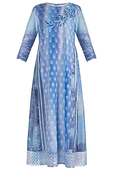 Blue & Purple Embroidered Printed Tunic by Krishna Mehta