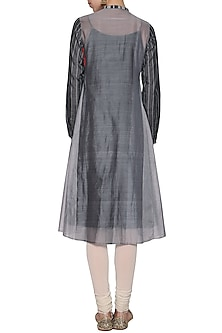 Grey embroidered silk tunic