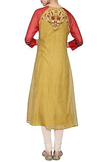 Mustard embroidered tunic by KRISHNA MEHTA