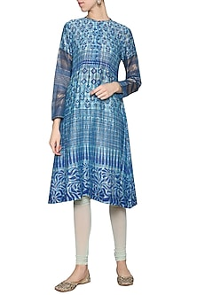 Blue printed embroidered kurta by KRISHNA MEHTA