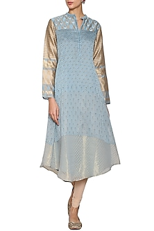 Silver blue embroidered tunic by KRISHNA MEHTA