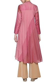 Pink embroidered silk tunic
