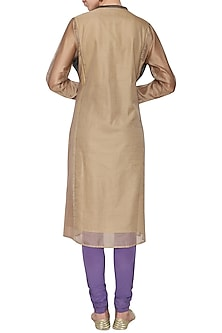 Beige embroidered tunic by KRISHNA MEHTA