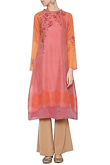 Coral embroidered printed tunic by KRISHNA MEHTA