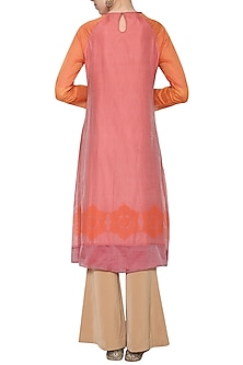 Coral embroidered printed tunic