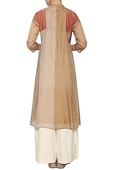 Beige and olive embroidered tunic