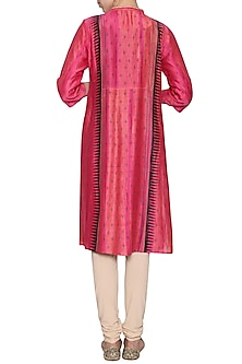 Fuschia embroidered textured tunic