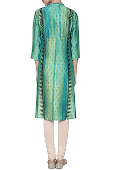 Turquoise textured embroidered tunic