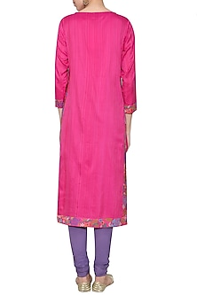 Fushia pink embroidered tunic with pants