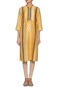 Saffron yellow embroidered tunic by KRISHNA MEHTA