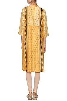 Saffron yellow embroidered tunic by KRISHNA MEHTA
