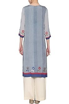 Grey printed embroidered tunic
