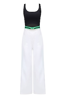 White and Black Ankle Length Belted Jumpsuit