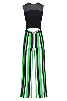 White, Black and Green Striped Ankle Length Jumpsuit