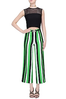 White, Black and Green Striped Ankle Length Jumpsuit by Karn Malhotra