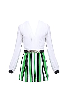 White, Black and Green Striped Romper