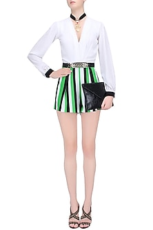 White, Black and Green Striped Romper by Karn Malhotra