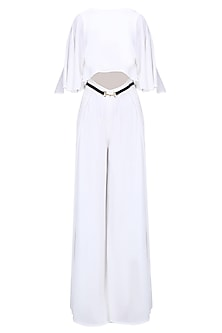 White and Gold Buckle Belt Cape Jumpsuit