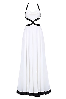 White Monochrome Flared Backless Gown