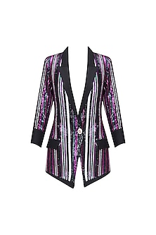 Black, Green, Pink and Purple Sequins Striped Jacket