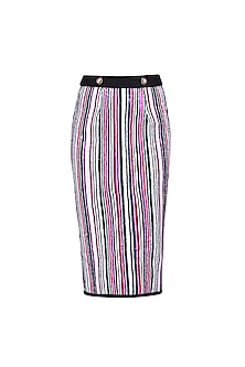 White, Green, Pink and Purple Sequins Striped Fitted Skirt