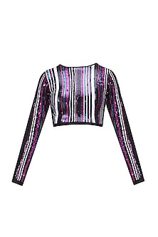Black, Green, Pink and Purple Sequins Striped Crop Top by Karn Malhotra