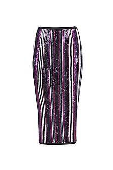 Black, Green, Pink and Purple Sequins Striped Fitted Skirt