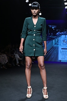 Forest Green Shirt Dress by Karn Malhotra