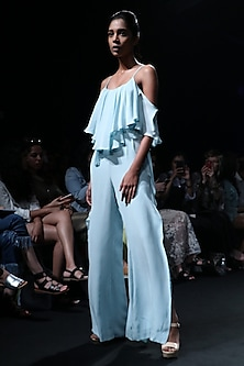 Powder Blue Ruffled Jumpsuit