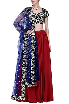 Burgundy embroidered lehenga set by KRASNA