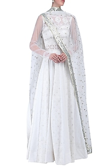 White embroidered anarkali set by KRASNA
