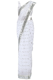 White embroidered saree set by KRASNA