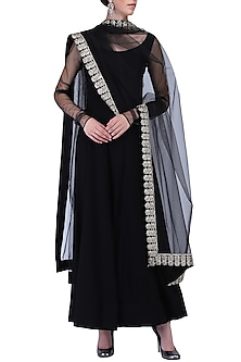 Black anarkali set by KRASNA