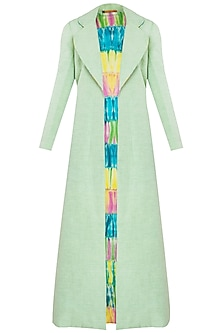 Mint Green Full Length Jacket by Kritika Universe