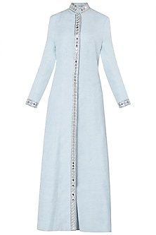 Sky Blue Embroidered Full Length Jacket